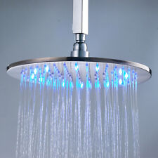 10-inch Round Brushed Nickel Brass Rain Shower Head LED Color Top Sprayer Faucet