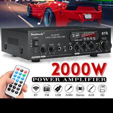 2000W Bluetooth Verstärker Vollverstärker HiFi Stereo Amplifier Digital FM DC12V