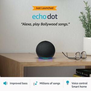 New Amazon Echo Dot 4th Generation with Alexa - Charcoal Black - Smart Speaker