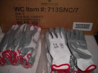 West Chester 713SNC/7 SMALL   Palm Coated Gray -WHITE Nylon Gloves Pack of 36