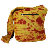 Umhängetasche Stoffbeutel BATIK-Beutel Tasche goa hippie Gelb Rot