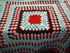 Hand crocheted multi coloured woollen knee rug/throw 85cm square Red Green Cream