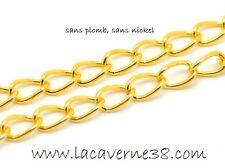 1m chaine au mètre métal doré maille cheval 6 x 4 mm création bijoux collier