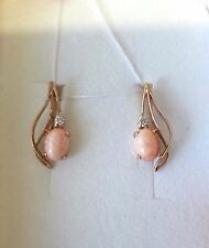 Russische Rose Gold 585 Ohrringe mit KORALLE & CZ Rose gold coral earrings !