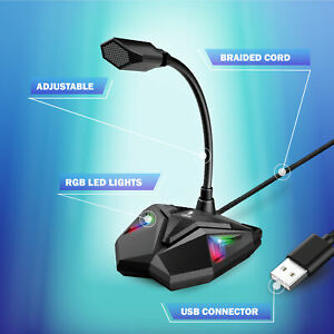 TikTok RGB Adjustable Flexible Bugha LED Gaming PC Microphone with Braided Cord