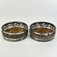 More details for fine antique pair of wmf art nouveau bottle coasters silver plated diameter 12cm