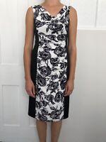 Phase Eight Women Dress Size 14 Black White Knee Length Sleeveless Panel