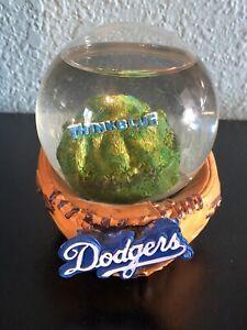 Los Angeles Dodgers Baseball Glove Think Blue Snow Globe! Used! MLB!
