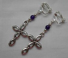 Handmade clip on earrings tibetan silver cross and purple beads lovely