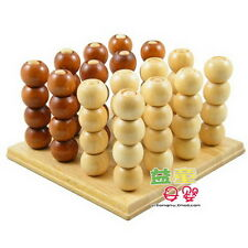 Connect Four 4 3D Solid Wood Strategy Game Brain Teaser Wooden Puzzle Toy