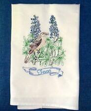 Texas Mockingbird And Bluebonnet State Flower Embroidered Flour Sack Towel