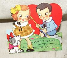 VINTAGE 1930s Die Cut  Fold VALENTINE Fishing You're The One I'm Trying to Catch