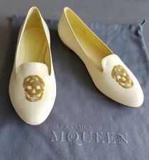 ALEXANDER MCQUEEN Sequin Skull Yellow Suede Shoes Flats Italy Size 40.5 NEW