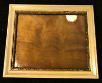 Antique Wood Picture Frame White Gilded Gesso Old Wavy Glass 24.25x20.5
