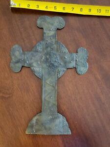Mexican Folk Art Pressed Tin Hanging Cross Handmade