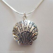 Clam Shell Locket Necklace - 925 Sterling Silver - Holds 2 Photos Beach Sea NEW