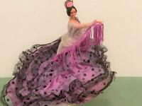 "Marin Chiclana Spain Flamenco Vtg Dancer 12"" Doll HTF Style Fringe Purple Shawl"