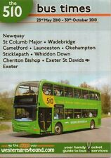 WESTERN GREYHOUND 510 BUS TIMETABLE May-Oct 2010 Cornwall Devon map leaflet VGC