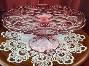 """Vintage Mosser Glass Pink Thistles Cake Stand, Footed cake plate 11 1/2"""""""