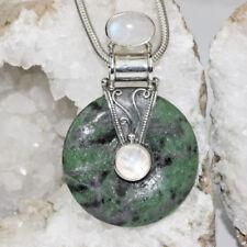 Natürliche Halsketten und Anhänger mit echten Edelsteinen mit Mondstein für Damen