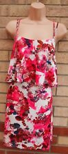 RIVER ISLAND PINK WHITE FLORAL STRAPPY RUFFLE LYCRA BAGGY CAMI SMOCK DRESS 12 M