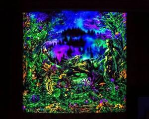 Trippy WallArt Blacklight Tapestry UV Reactive Fractal Psytrance Trance Festival