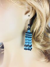 TURQUOISE BLUE BLACK NATIVE STYLE  BEADED EARRINGS HANDMADE JHUMKA E58/34