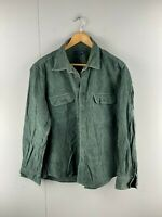 Lands End Mens Vintage Collared Heavyweight Corduroy Shirt Size Large Green