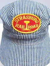 Vintage USA Pennsylvania Strasburg Railroad Engineer Hickory Denim Hat Train Cap
