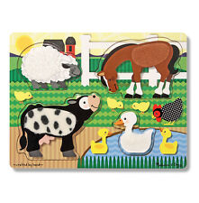Melissa & Doug FARMYARD WOODEN TOUCH AND FEEL PUZZLE