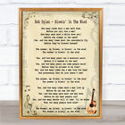 Bob Dylan Blowin' In The Wind Song Lyric Quote Print