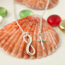 Simple Fashion Luck Number 8 Clavicle Cross Necklace Silver Plated Women Chain