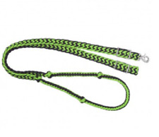 TOUGH-1 LIME GREEN AND BLACK BRAIDED KNOTTED BARREL RACING ROPING REINS 7 FEET