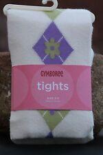GYMBOREE Tights Girls Argyle COWGIRLS AT HEART Ivory Purple Green Sz 5 6 7