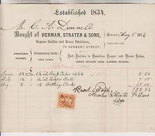 4 1863-66 BILLHEADS - HERMAN STRATER & SONS - COPPER & BRASS - BOSTON MA