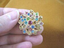 flower gold tone brooch pin (bb601-54) pastel rhinestone crystal ornate swiral