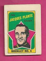 1971-72 OPC LEAFS JACQUES PLANTE  BOOKLET INSERT (INV# C8462)