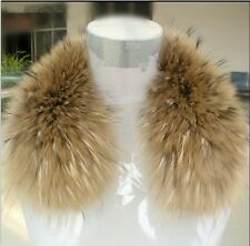 New Fashion Real Raccoon Fur Collar Scarf Shawl Wrap Vest Cape For Coat Jackets