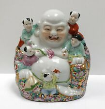 "Antique Vintage Auspicious Laughing Buddha 5 Fortune Kids 8.5"" Porcelain Statue"