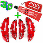 3D RED BREMBO Style Brake Caliper Covers 4 Pcs Front & Rear UNIVERSAL GLUE Set
