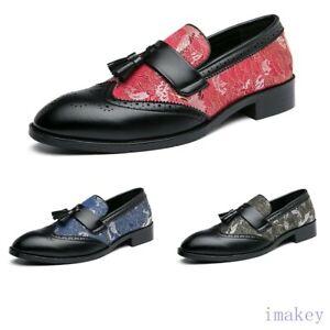 Plus Size Mens Match Color Oxford Wingtip Tassel Floral Formal Dress Shoes 38-48