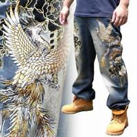 Japanese Embroidered Mens Jeans Straight Hip Pop Trousers Denim Totem Phoenix sz