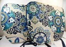 """LOT OF 2 Brentwood Originals Chair Pads, Reversible with Ties, Blue17""""x 15"""""""