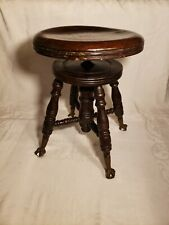 Antique 1800s Charles Parker Co Antique Adjustable Piano Stool Claw Feet.
