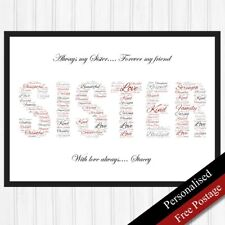 Sister Gifts Personalised Word Sister. Keepsake Gifts for Birthdays.PRINT ONLY