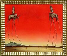 Tom L (After Salvador Dali)-The Elephants-Framed Original Oil/Canvas/Hand Signed