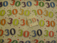 AGE 30 30TH THIRTY BIRTHDAY CELEBRATIONS GIFT WRAPPING PAPER 2 SHEETS+ 2 TAG se