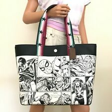 Coach Comic Book Print Leather Shoulder Tote 2835 Chalk Black Multi