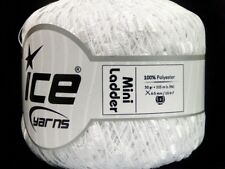 White Mini Ladder Yarn #58064 Ice Solid White Ribbon Trellis Yarn 50gram 136yd