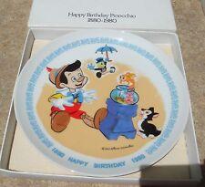 Vintage Walt Disney HAPPY BIRTHDAY PINOCCHIO Collectors Plate Schmid 1880-1980